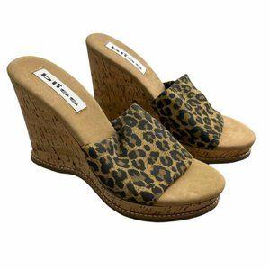 Y2K Women's Cheetah Cork Slip-On Sandal Platform Wedge Size 7 2000's Vintage